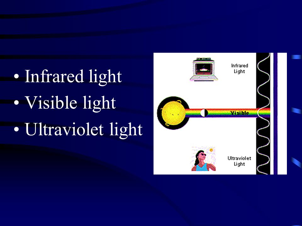 Infrared light Visible light Ultraviolet light