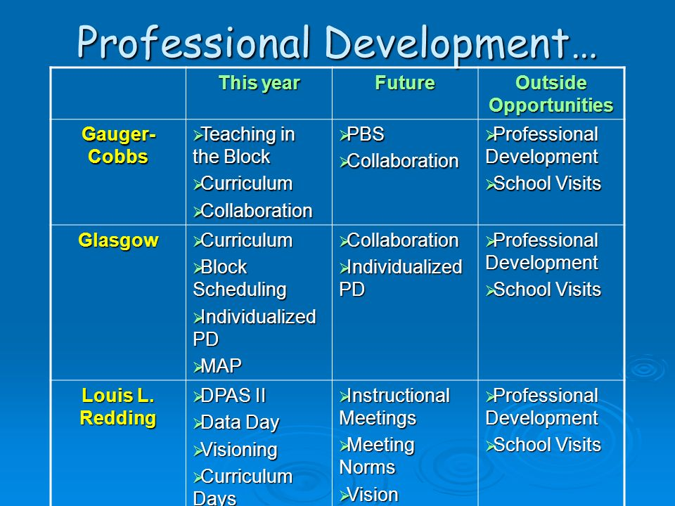 Professional Development…