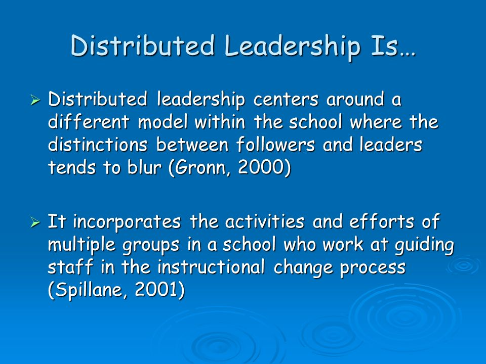 Distributed Leadership Is…