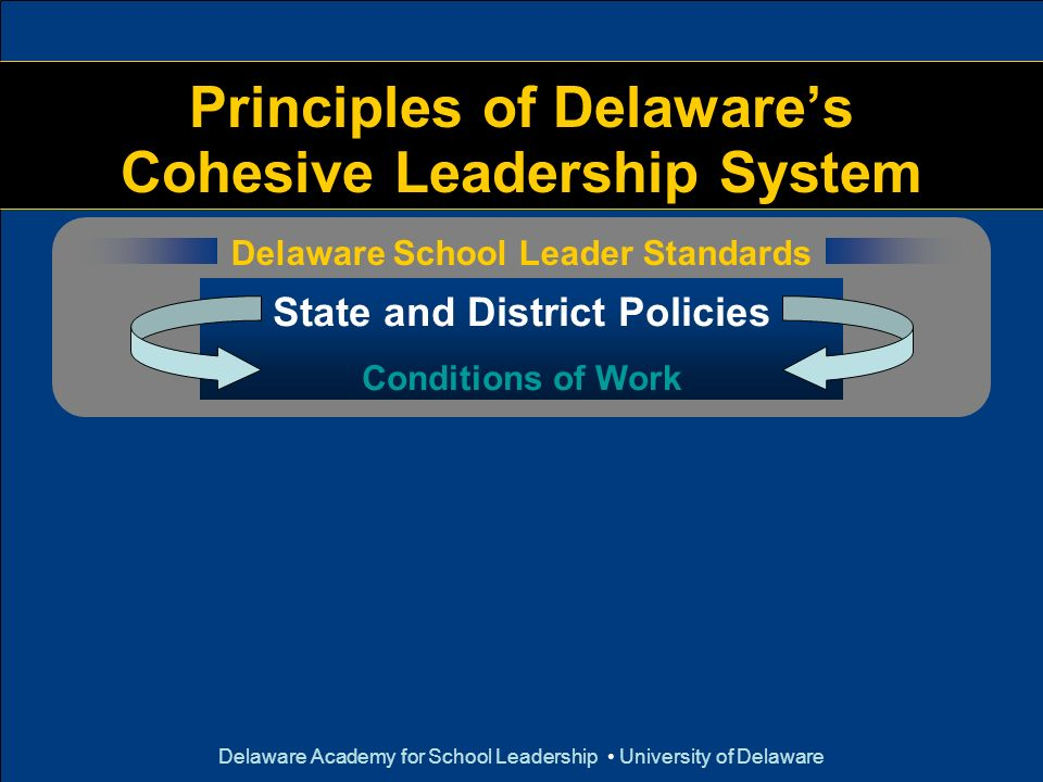 Principles of Delaware's Cohesive Leadership System