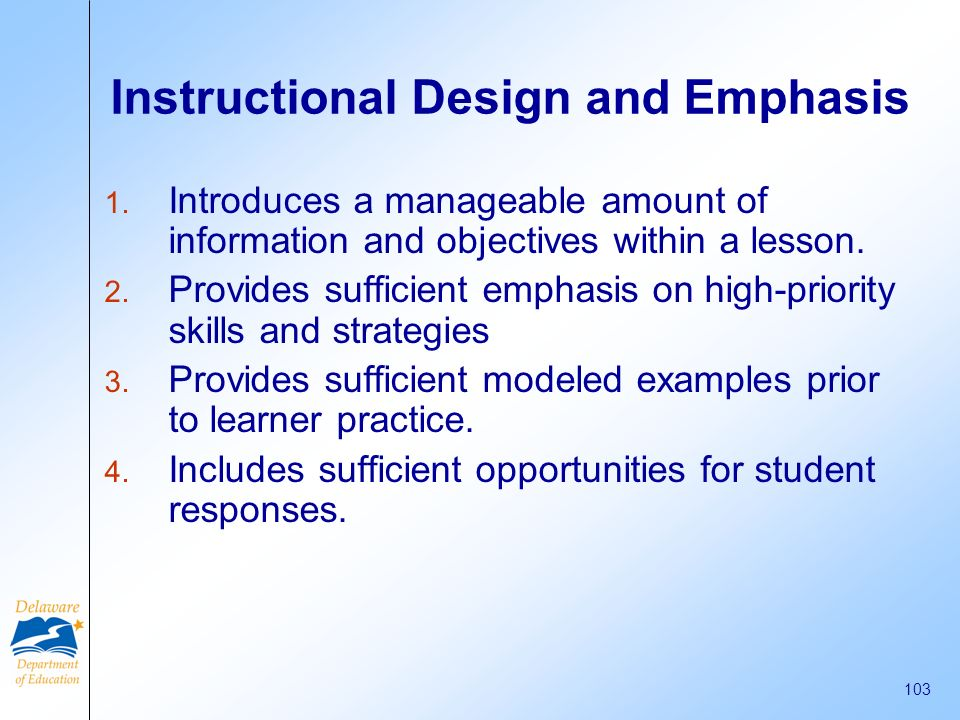 Instructional Design and Emphasis