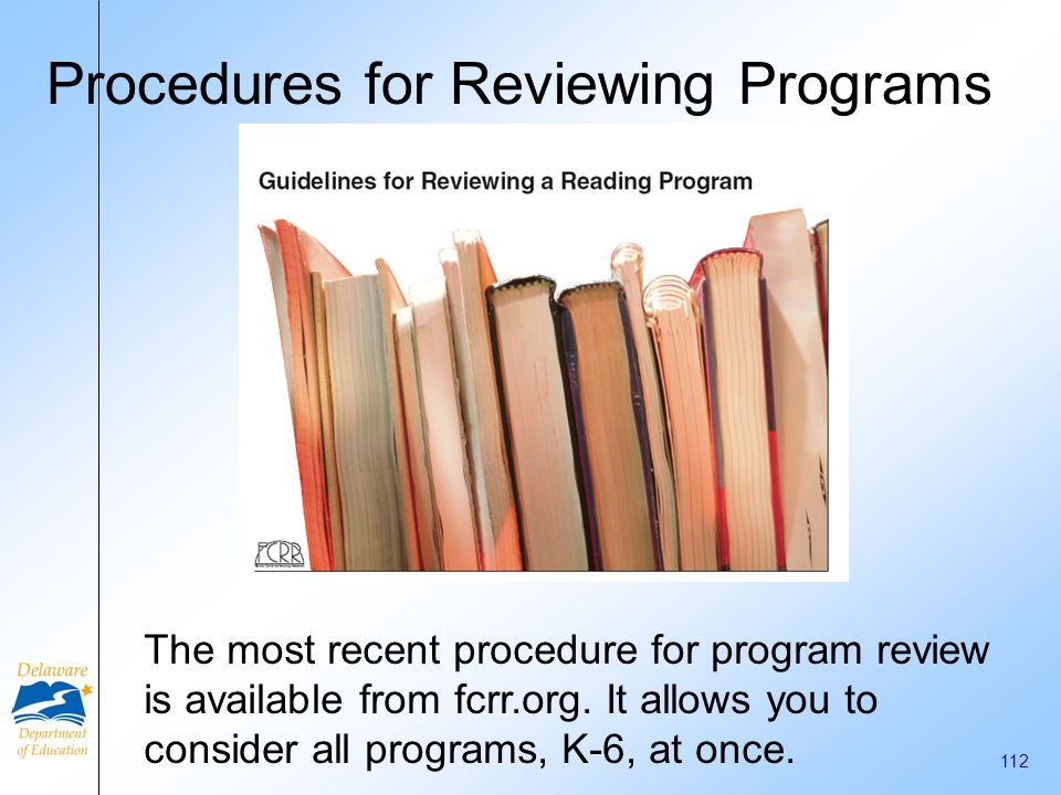 Procedures for Reviewing Programs