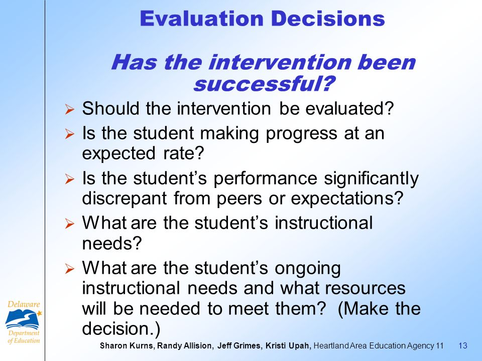 Evaluation Decisions Has the intervention been successful
