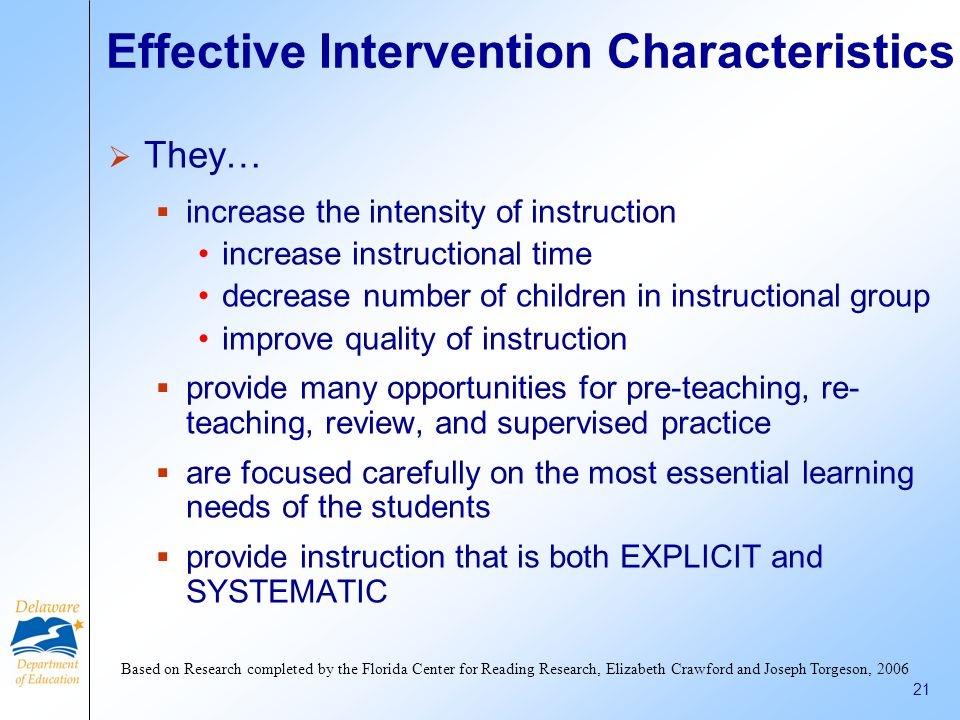 Effective Intervention Characteristics