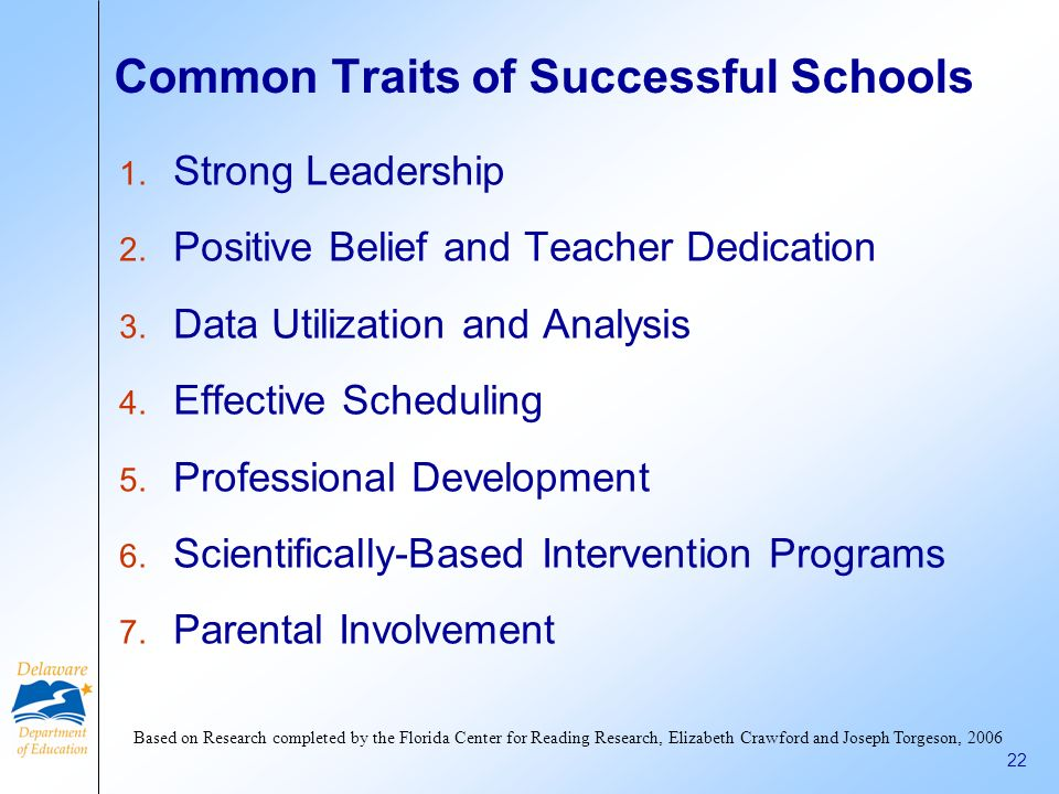 Common Traits of Successful Schools