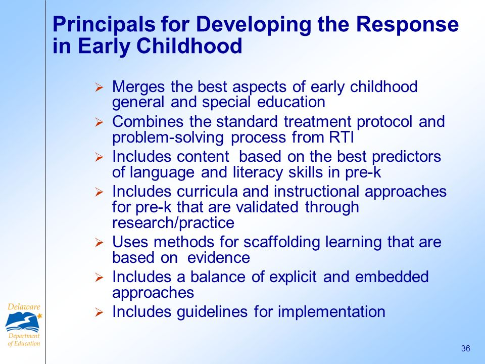Principals for Developing the Response in Early Childhood