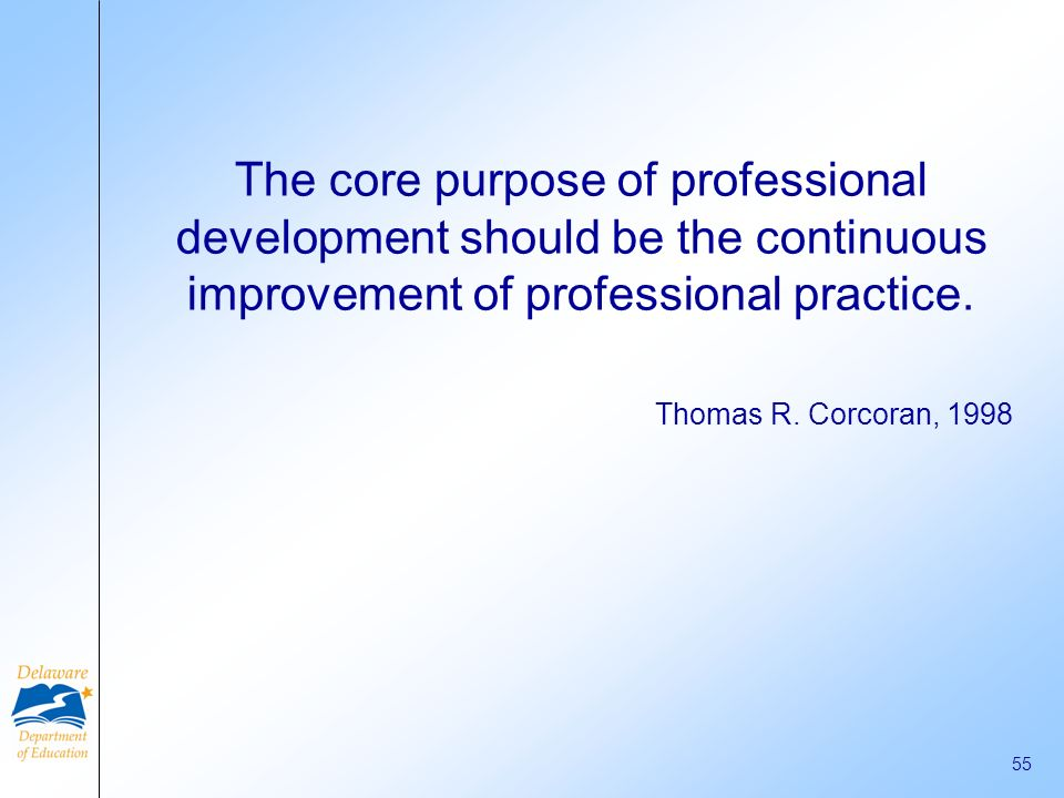 The core purpose of professional development should be the continuous improvement of professional practice.