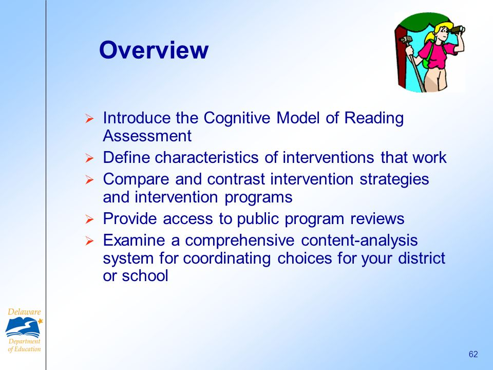 Overview Introduce the Cognitive Model of Reading Assessment