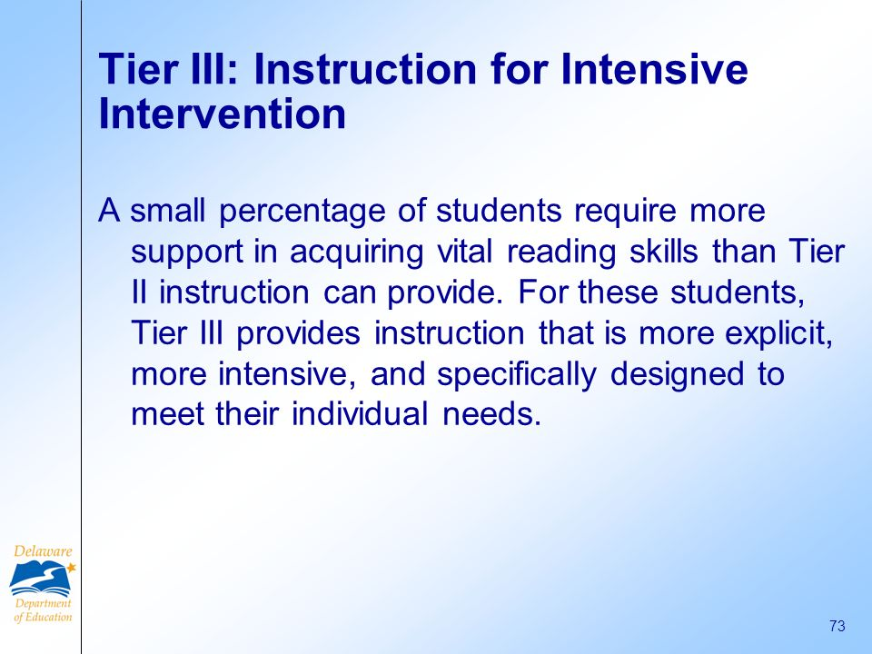 Tier III: Instruction for Intensive Intervention