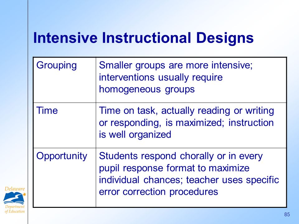 Intensive Instructional Designs