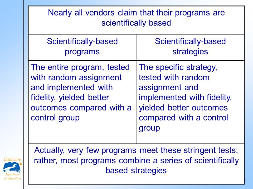 Nearly all vendors claim that their programs are scientifically based