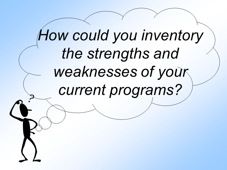 How could you inventory the strengths and weaknesses of your current programs