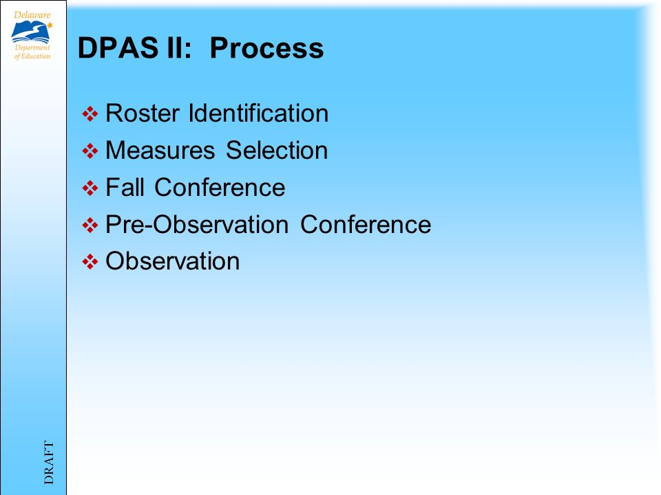 DPAS II: Process Roster Identification Measures Selection