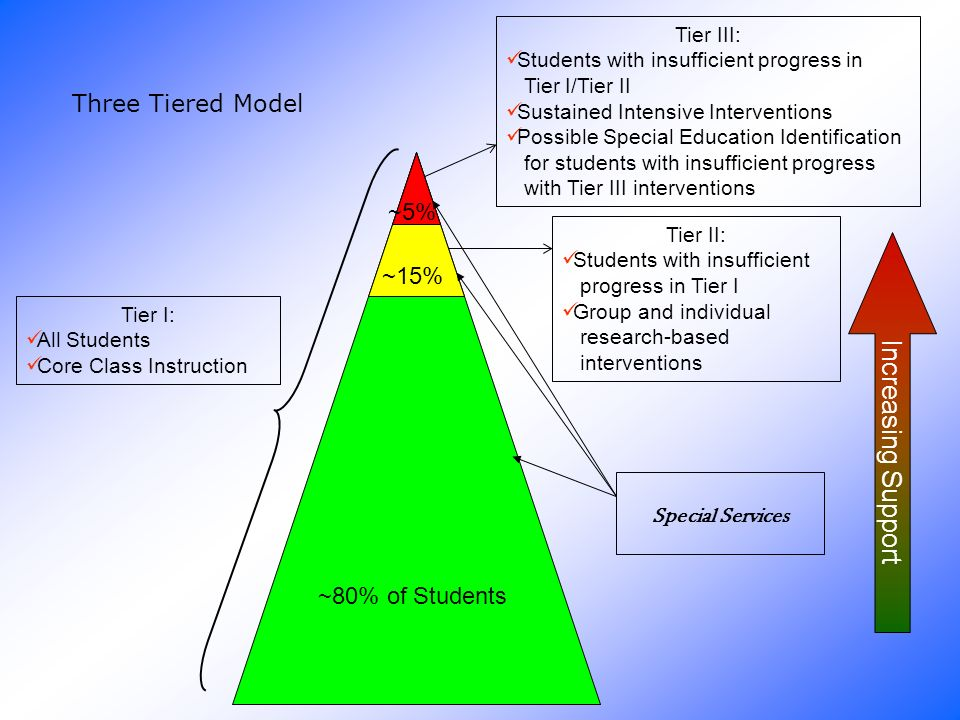 Increasing Support Three Tiered Model ~5% ~15% ~80% of Students