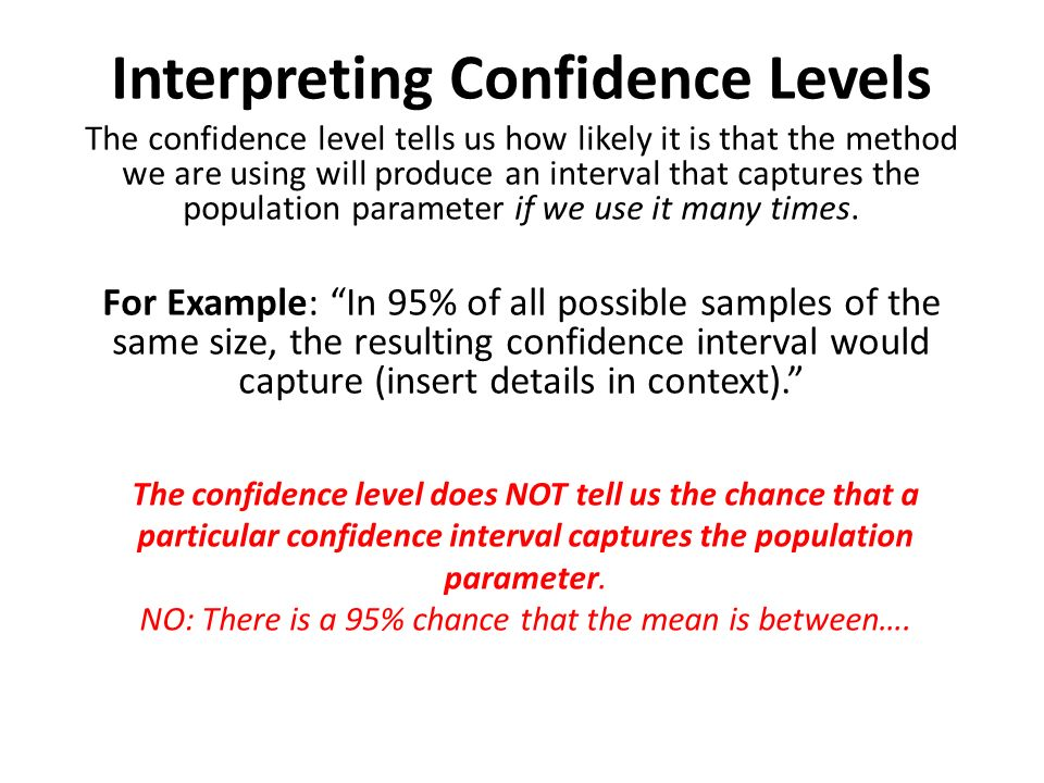 Interpreting Confidence Levels
