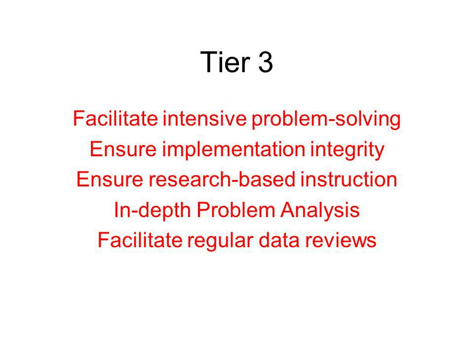 Tier 3 Facilitate intensive problem-solving