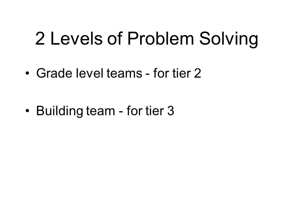 2 Levels of Problem Solving