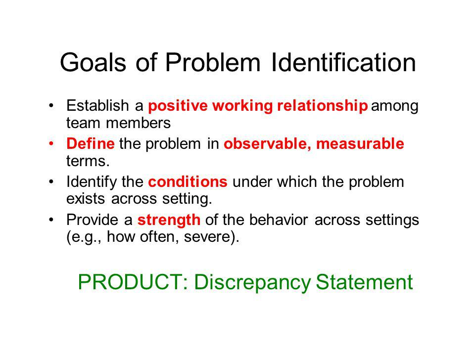 Goals of Problem Identification