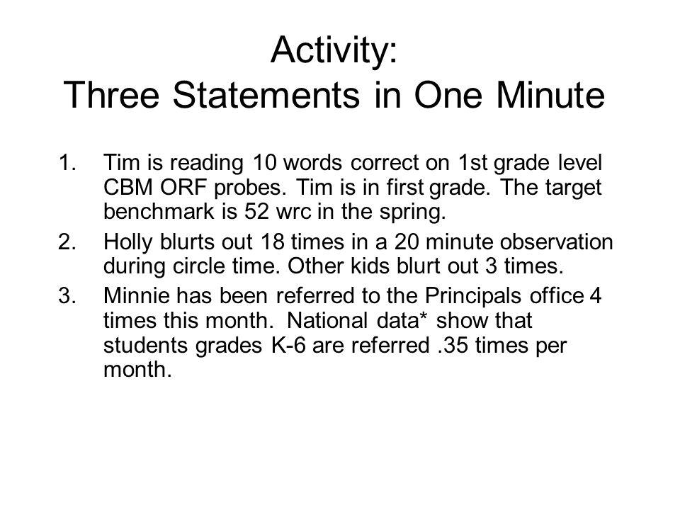Activity: Three Statements in One Minute