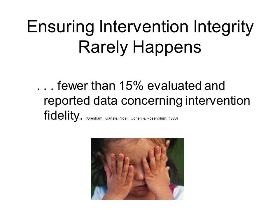 Ensuring Intervention Integrity Rarely Happens