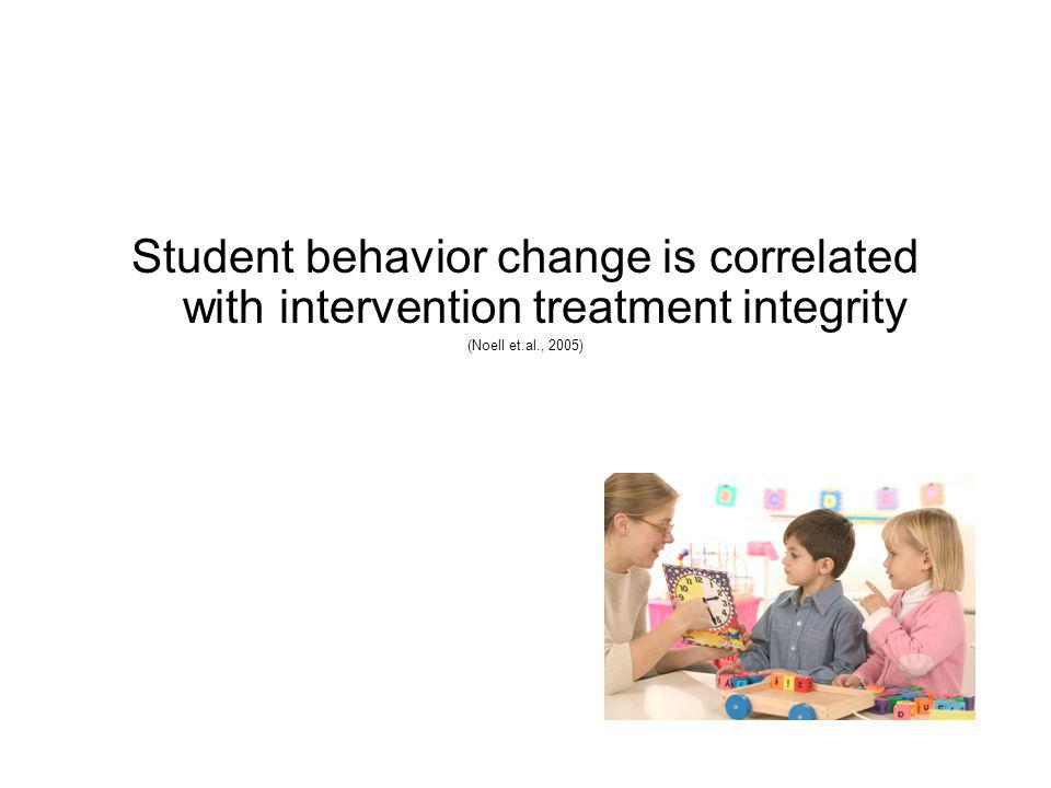 Student behavior change is correlated with intervention treatment integrity