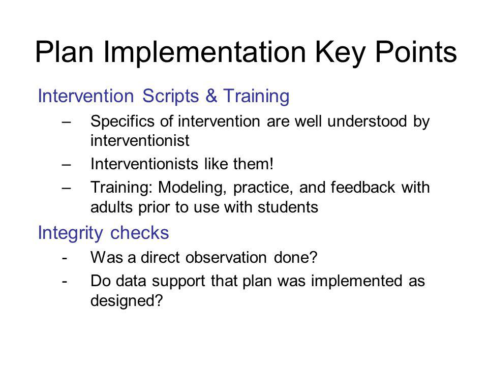 Plan Implementation Key Points