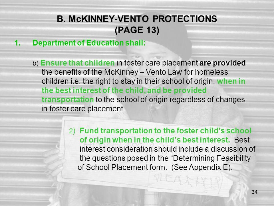 B. McKINNEY-VENTO PROTECTIONS (PAGE 13)
