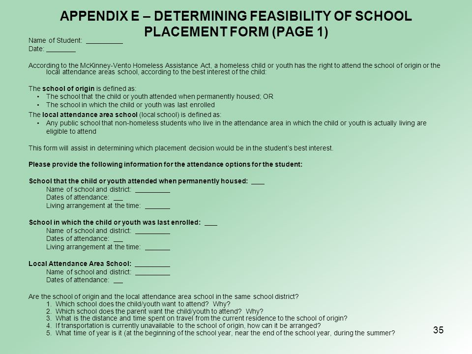 APPENDIX E – DETERMINING FEASIBILITY OF SCHOOL PLACEMENT FORM (PAGE 1)