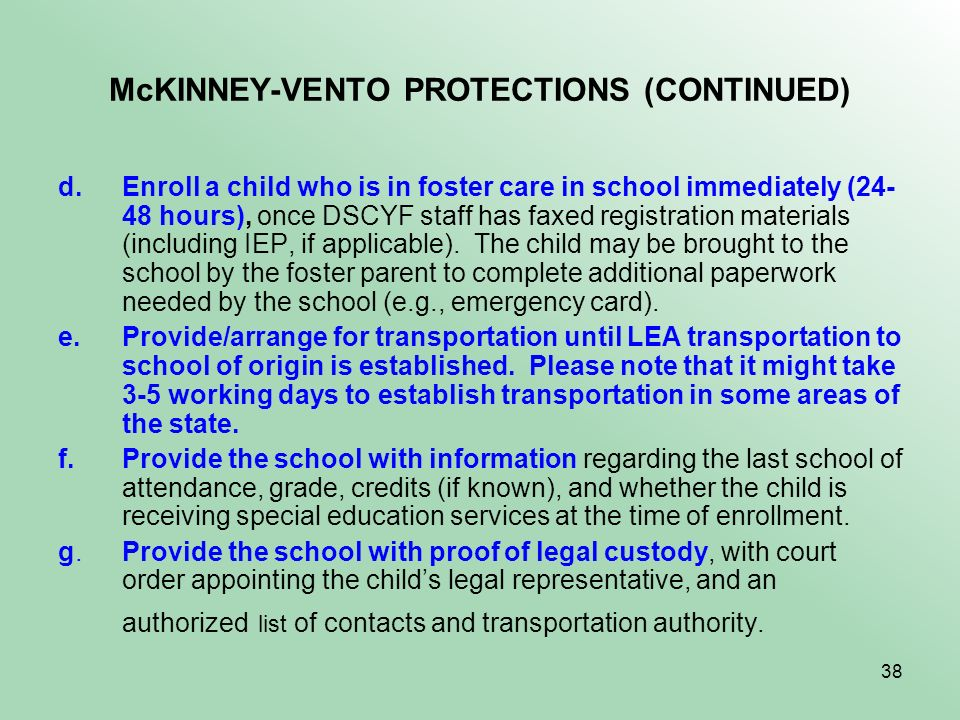 McKINNEY-VENTO PROTECTIONS (CONTINUED)