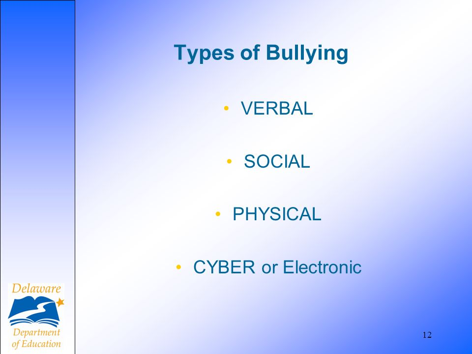 Types of Bullying VERBAL SOCIAL PHYSICAL CYBER or Electronic