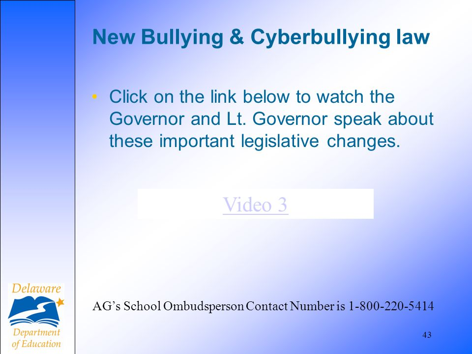 New Bullying & Cyberbullying law