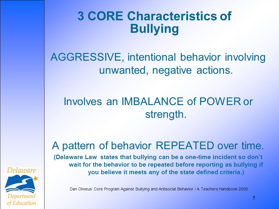 3 CORE Characteristics of Bullying