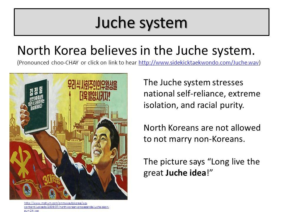 Juche system North Korea believes in the Juche system. (Pronounced choo-CHAY or click on link to hear http://www.sidekicktaekwondo.com/Juche.wav)