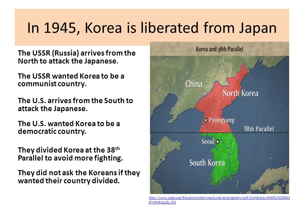 In 1945, Korea is liberated from Japan