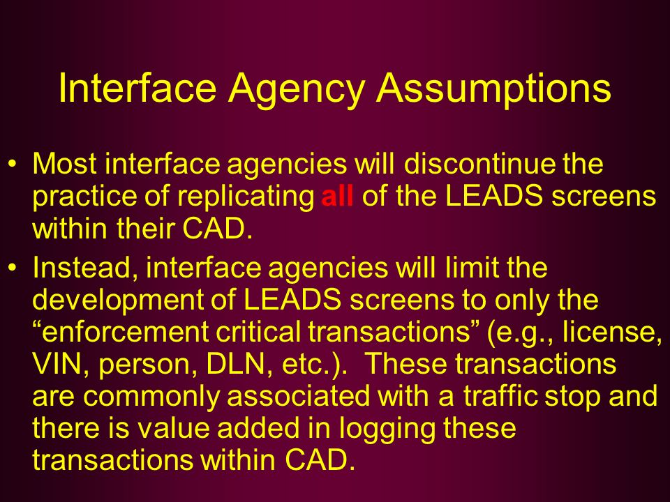 Interface Agency Assumptions