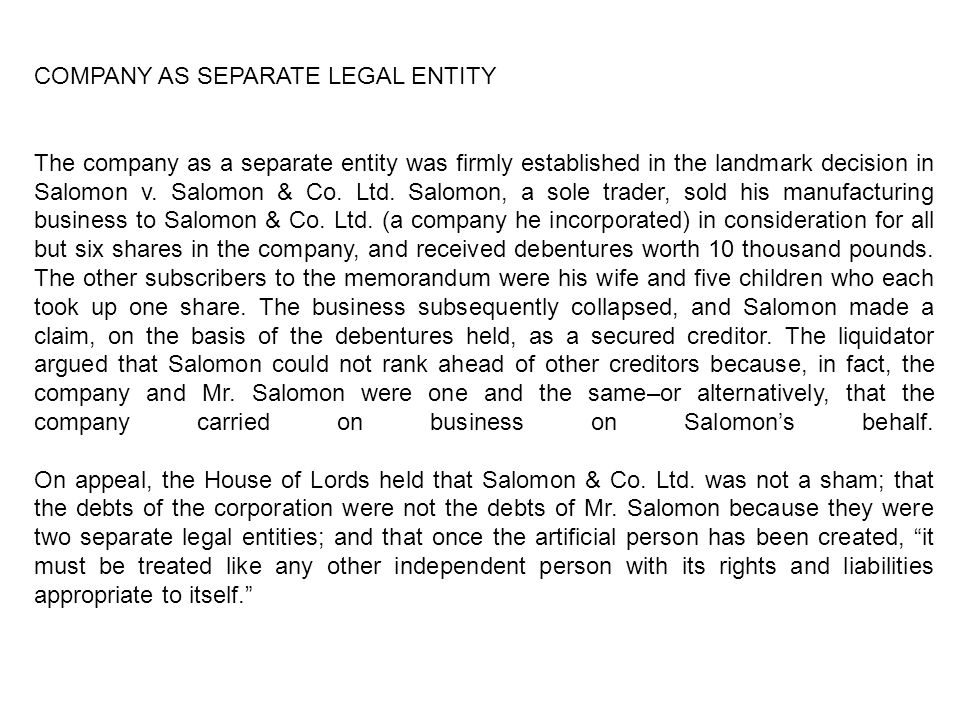 concept of separate legal personality of a company