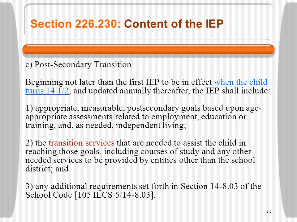 Section 226.230: Content of the IEP