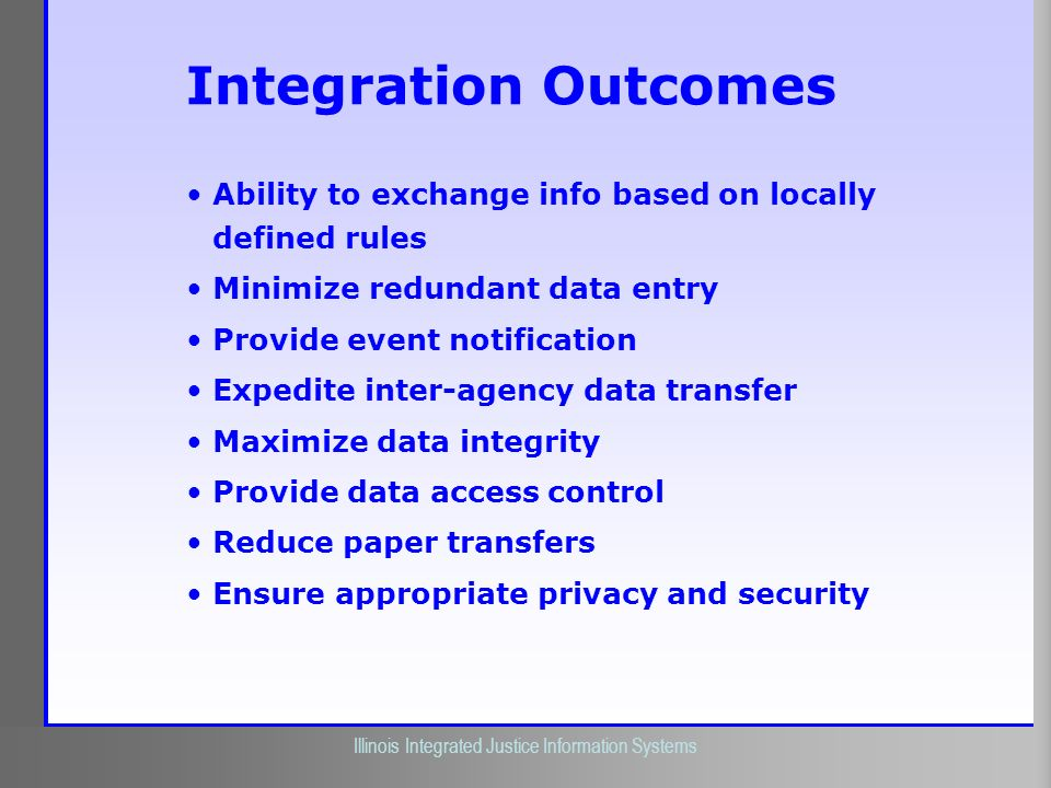 Integration Outcomes Ability to exchange info based on locally defined rules. Minimize redundant data entry.