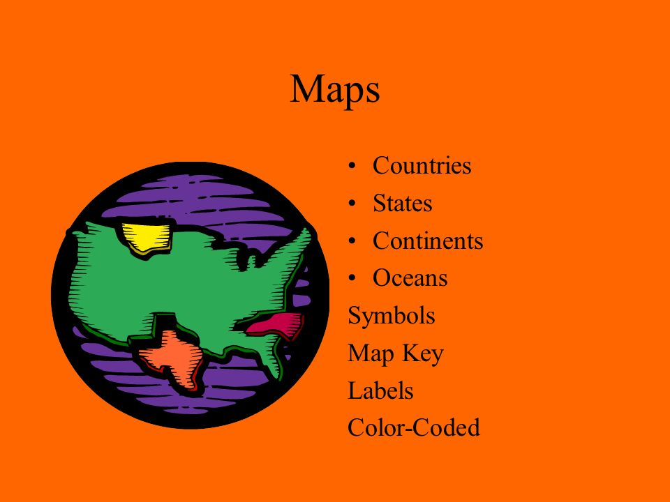 Maps Countries States Continents Oceans Symbols Map Key Labels