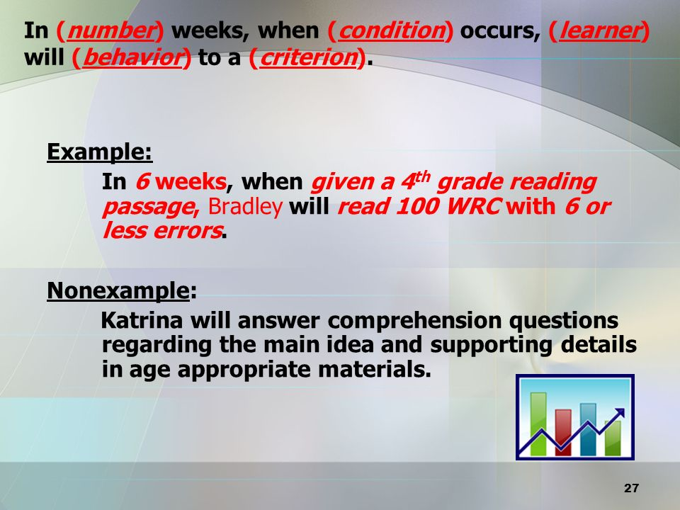 In (number) weeks, when (condition) occurs, (learner) will (behavior) to a (criterion).