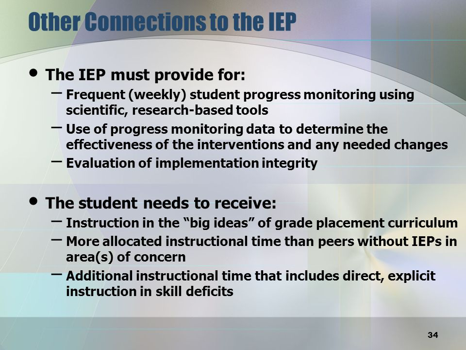 Other Connections to the IEP