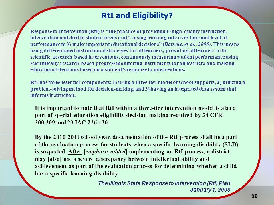 RtI and Eligibility