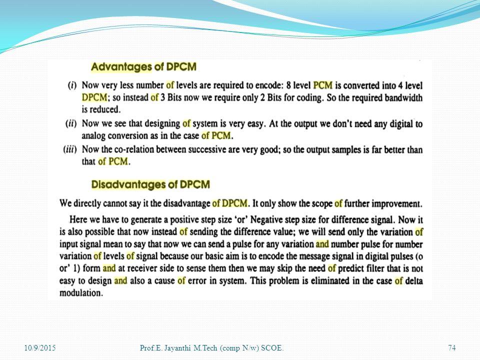 ADVANTAGE AND DISADVANTAGE OF DPCM PDF