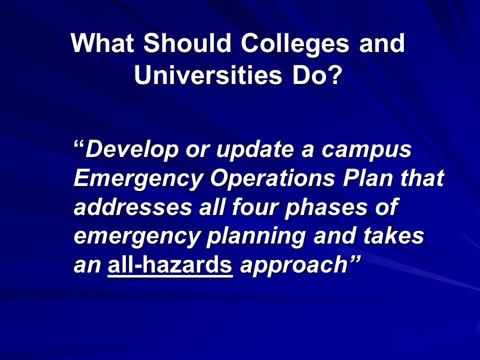 What Should Colleges and Universities Do