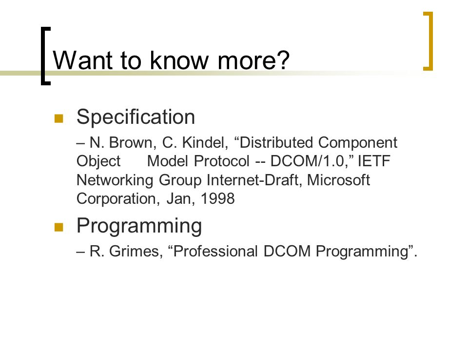 DCOM (Overview) by- Jeevan Varma Anga  - ppt video online