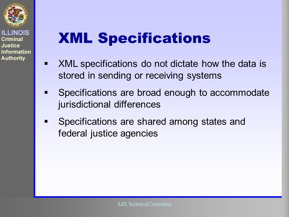 XML Specifications XML specifications do not dictate how the data is stored in sending or receiving systems.