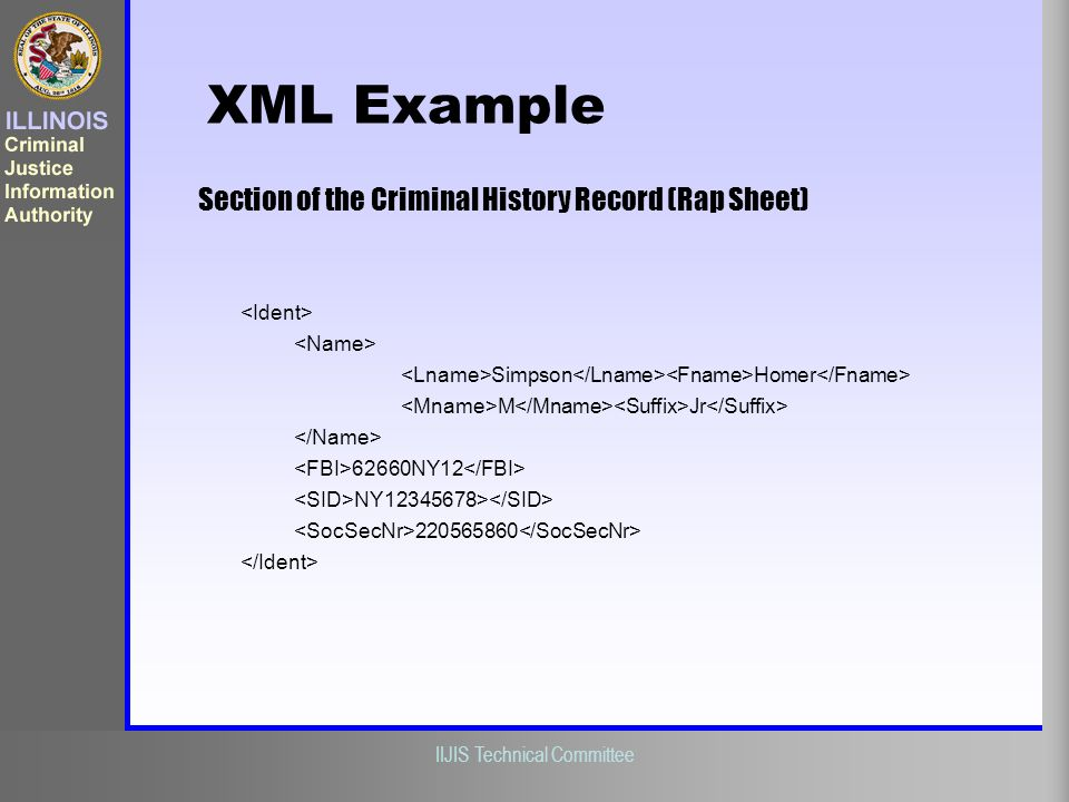 XML Example Section of the Criminal History Record (Rap Sheet)