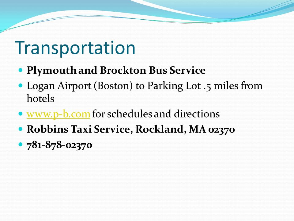 Transportation Plymouth and Brockton Bus Service