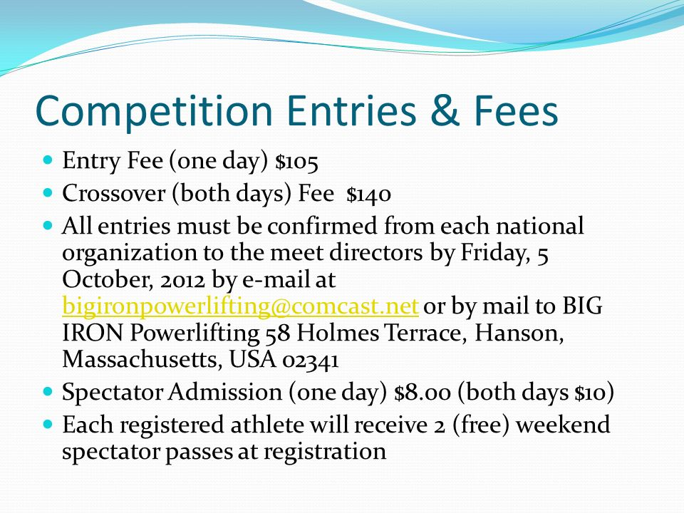 Competition Entries & Fees