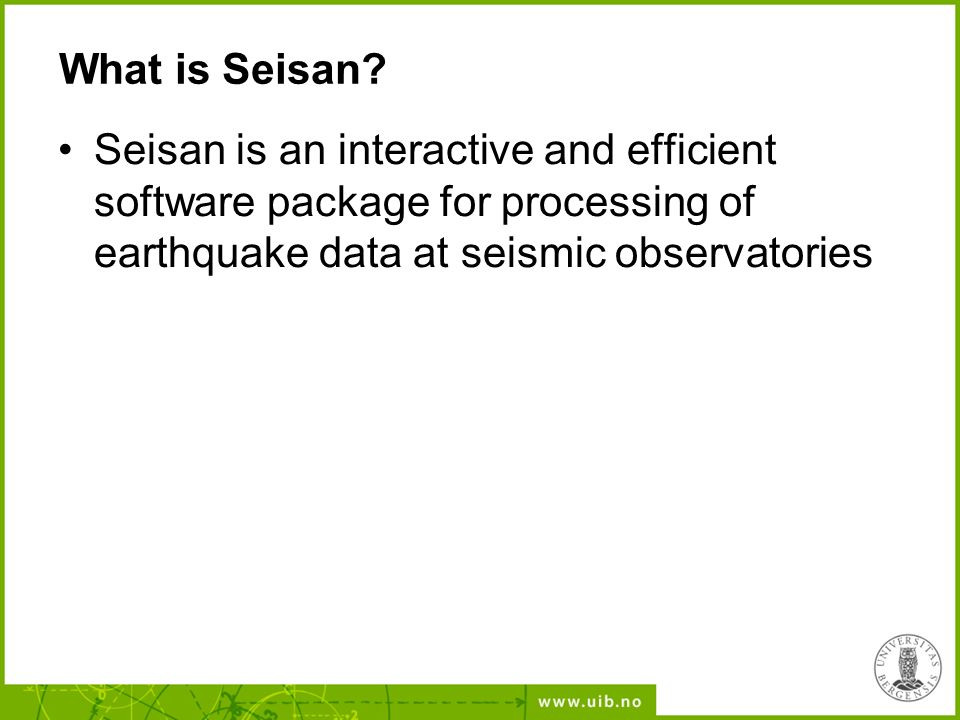 The Seisan Earthquake Analysis Software - ppt download